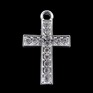 Silver Plated Rhinestone Cross 24mm x 37mm x 1 pcs